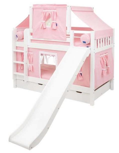 27120 bunk bed with slide maxtrix playhouse tent bunk bed w slide pink white on