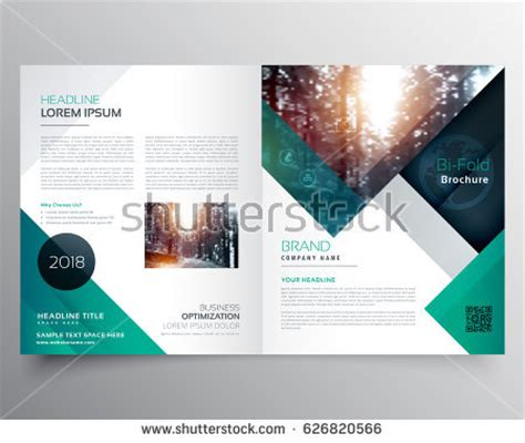business bifold brochure magazine cover design stock