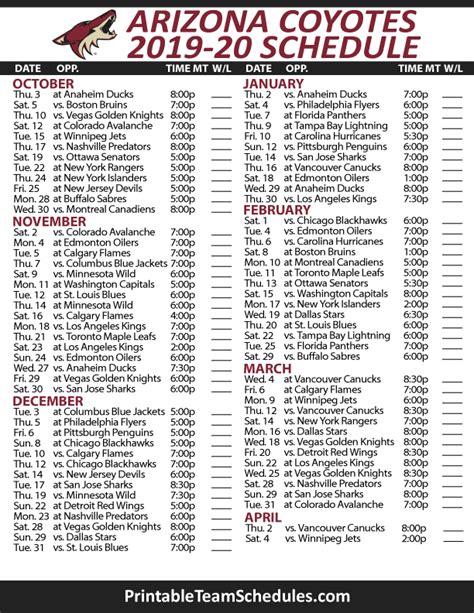 printable arizona coyotes schedule