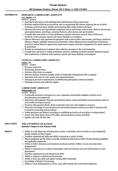 Lab Assistant Resume by Laboratory Assistant Resume Sles Velvet