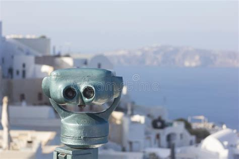 Binoculars And Santorini View Oia Greece Stock Photo