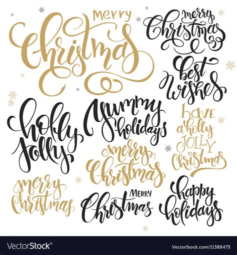 set  hand lettering christmas quotes royalty  vector