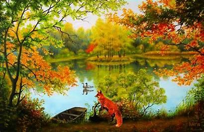 Autumn Nature Landscape Paintings Animated Lake Fall