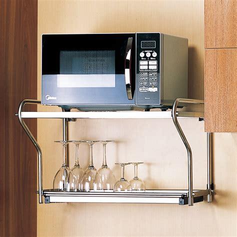 etagere de   micro ondes en acier inoxydable montee sur le mur  deux etages etagere