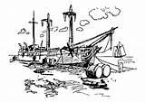 Coloring Port Ship Printable Edupics sketch template