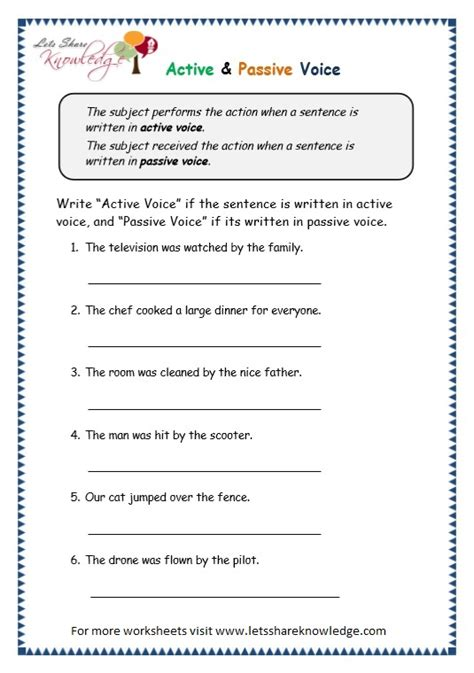 grade 3 grammar topic 3 active passive voice worksheets
