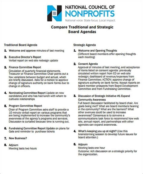 templatenet board agenda templates   word  format