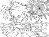 Coloring Doodle Alley Tropical Adult Adults Simple Drawings Colouring Sheets Printable Scene Printables Mediafire Sunny Sunnybeach Imprimir Para Relaxing Palm sketch template
