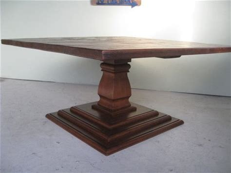 Square Dining Table With Pedestal Base   ECustomFinishes