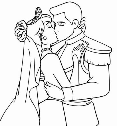 Cinderella Coloring Prince Pages Kiss Charming