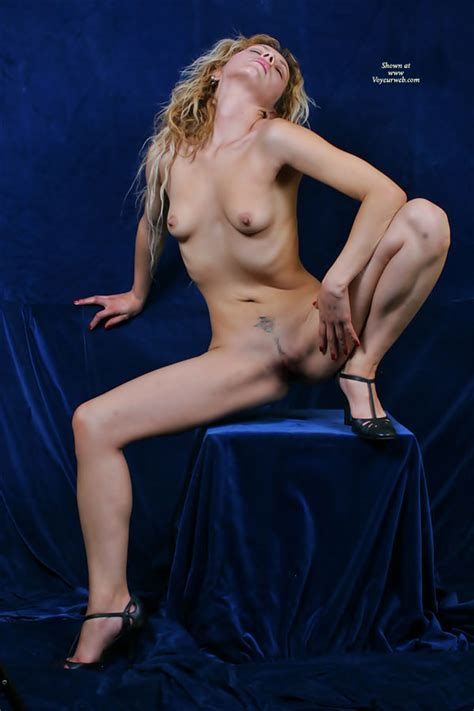 Frontal Nude Blonde Sitting Spread Wide With Heels