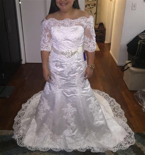 trumpetmermaid   shoulder court train lace wedding