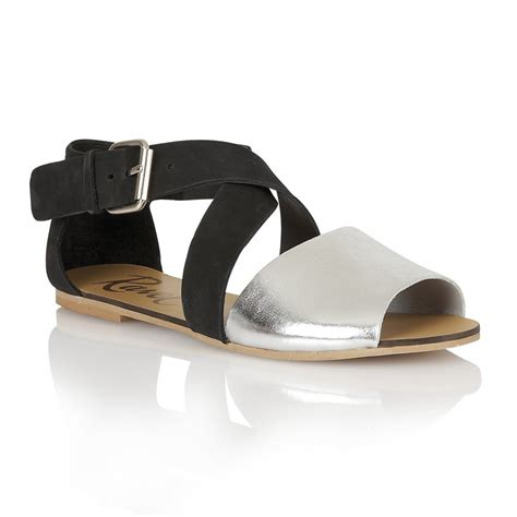 flat silver shoes buy ravel dallas flat sandals in black