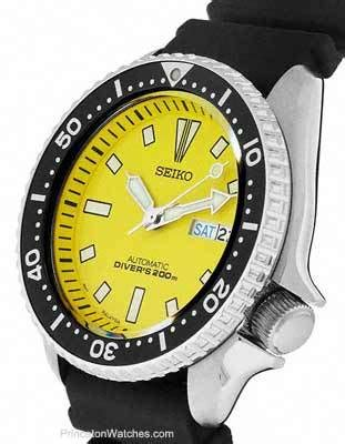 seiko mens automatic dive   yellow face