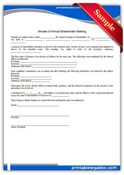 printable minutes  annual shareholder meeting form