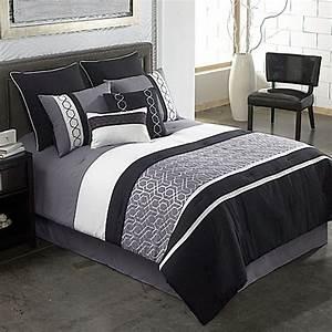 Covington 8 Piece Comforter Set In GreyBlack Bed Bath