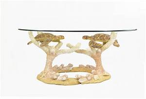 48quot oval sea turtle 3 piece glass coffee table wilford With sea turtle coffee table