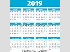 Eenvoudig, kalender, 2019, jaar Week, maandag, eenvoudig