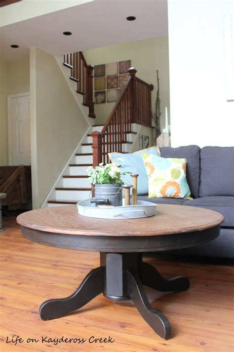 Instructions and tips on making a perfect round table top. DIY Round Farmhouse Coffee Table - Life on Kaydeross Creek