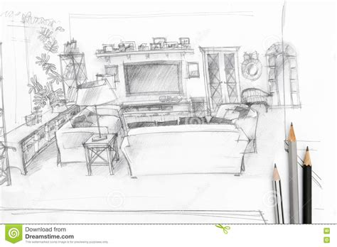 Living Room Graphical Sketch With Drawing Tools Stock