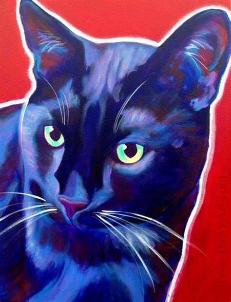 Abstract Black Cat Painting by Black Cat Pet Portrait Dawgart Cat Pet Portrait