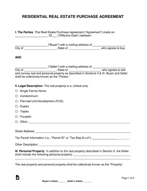 residential real estate purchase agreements word