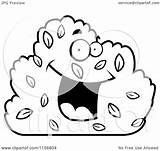 Cartoon Shrub Clipart Smiling Character Coloring Happy Thoman Cory Outlined Vector Regarding Notes sketch template