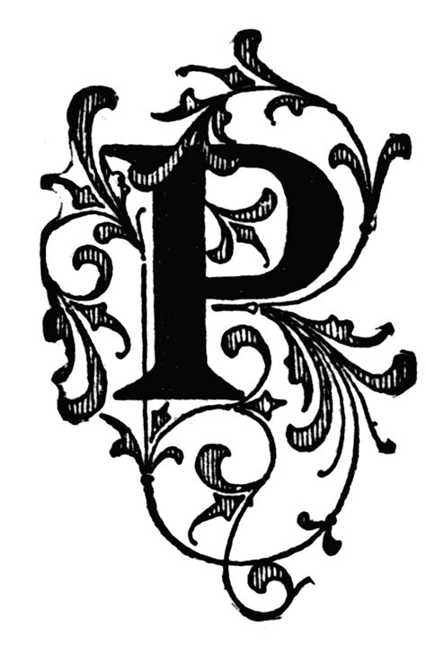 p floral initial clipart