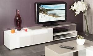 Meuble Tv Blanc Laqué Et Bois : pacific meuble tv couleur blanc et taupe laque brillant grand modele ~ Teatrodelosmanantiales.com Idées de Décoration