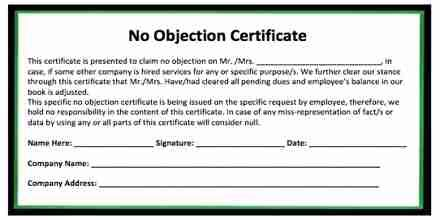 sample application   objection certificate noc