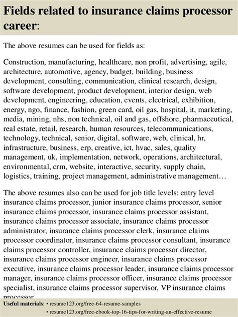 Insurance Claims Processor Resume Templates by Top 8 Insurance Claims Processor Resume Sles