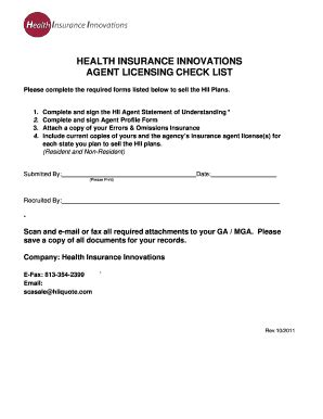 Get ready to sell health and dental plans to individuals, families, and small businesses through the health insurance marketplace®. Fillable Online Health insurance innovations agent licensing check ... - GoHealth VMO Fax Email ...