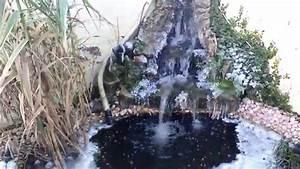 Jardin Avec Bassin : bassin de jardin avec cascade gelee youtube ~ Melissatoandfro.com Idées de Décoration