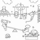 Coloring Playground Swing Kaartje2go Speeltuin Kleurplaat Playing sketch template