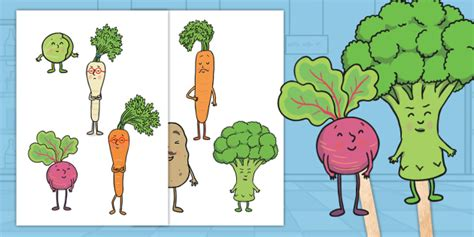 * New * Carrot Club Stick Puppets  Originals, Fiction, Ks1, Healthy Eating
