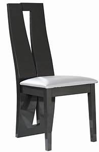 Chaise bois gris et simili blanc kantz lot de 2 for Meuble salle À manger avec chaise salle a manger cuir gris