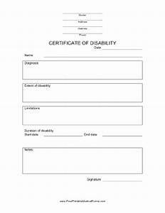 Certificate of Disability Form
