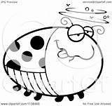 Ladybug Drunk Cartoon Coloring Clipart Outlined Chubby Vector Cory Thoman 2021 sketch template