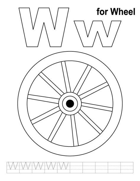 wheel coloring page  handwriting practice