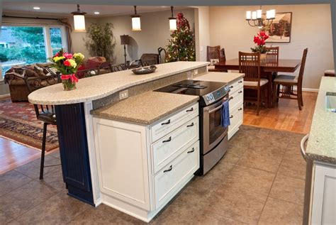 kitchen island with oven stove covers for counter space concrete countertops 5216