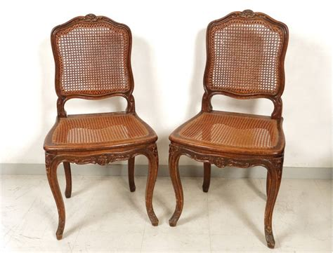 chaise louis xv louis xv carved walnut chairs pair caned acanthus flowers nineteenth century antiques de laval