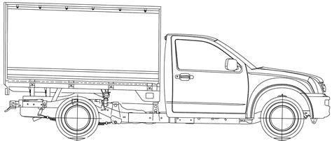 isuzu rodeo pickup truck  blueprints  outlines