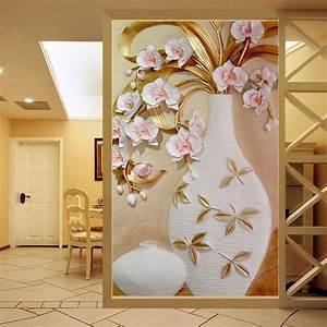 Custom 3D Mural Wallpaper Embossed Flower Vase