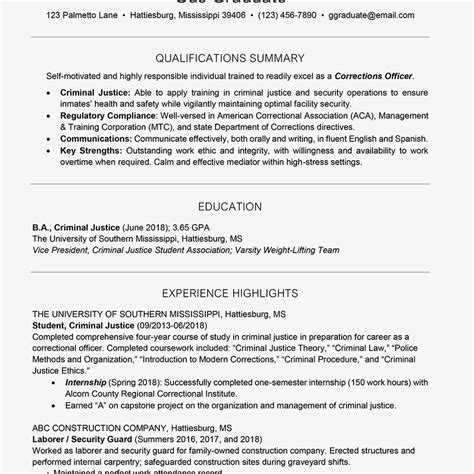 college resume template for students and graduates