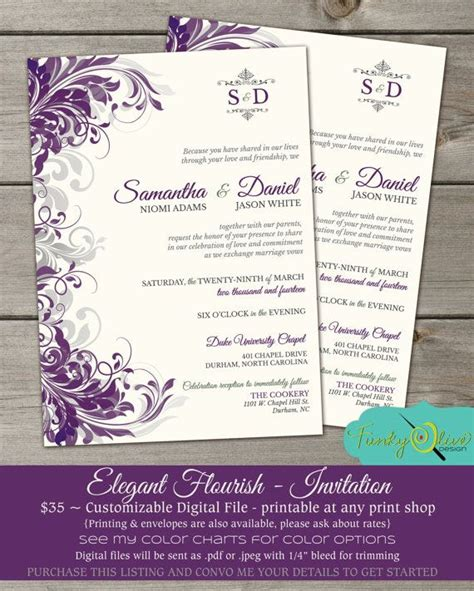 purple gray flourish wedding invitation shower