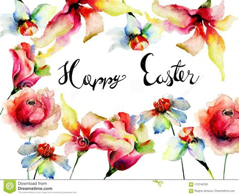flowers watercolor illustration  title happy easter