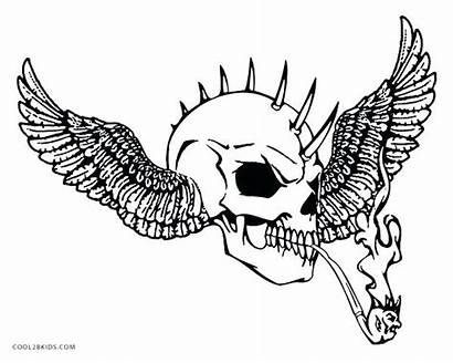 Skull Coloring Pages Evil Skulls Cool Scary
