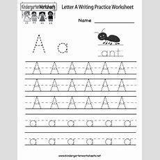 Kindergarten Letter A Writing Practice Worksheet Printable  D'nealian  Writing Practice