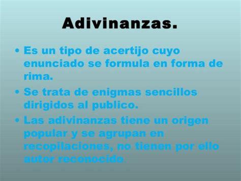 definicion tipos  ejemplos de adivinanzas adivinanzas
