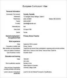 resume format european countries sle europass curriculum vitae 6 documents in pdf word